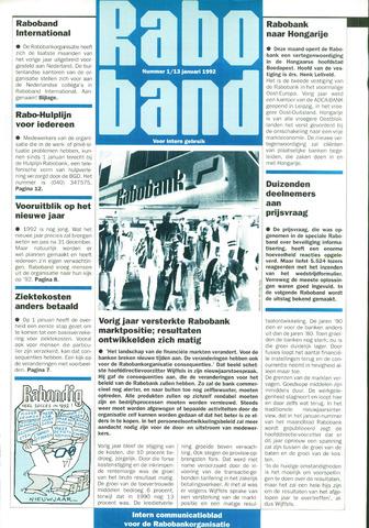 blad 'Raboband' 1992-01-13