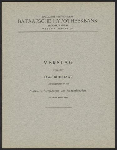 Jaarverslagen Bataafsche Hypotheekbank 1933