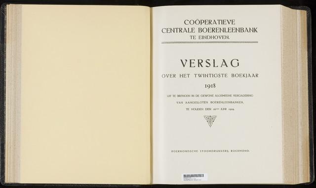 Jaarverslagen Coöperatieve Centrale Boerenleenbank 1918
