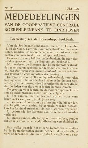 blad 'Maandelijkse Mededelingen' (CCB) 1922-07-01