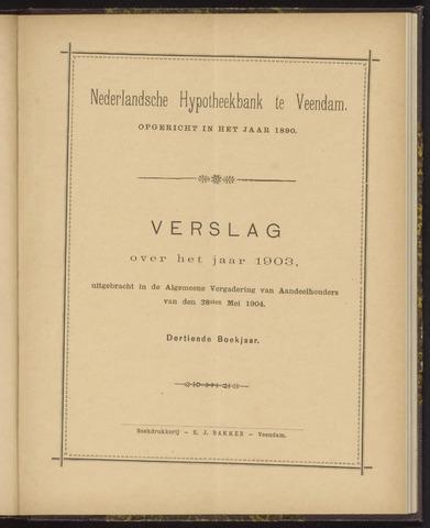Jaarverslagen Nederlandsche Hypotheekbank 1903