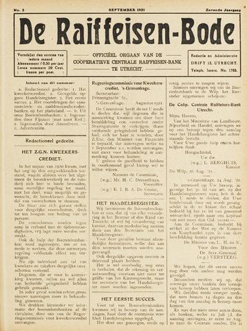 blad 'De Raiffeisen-bode' (CCRB) 1921-09-01