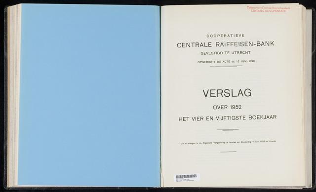 Jaarverslagen Coöperatieve Centrale Raiffeisen-Bank 1952