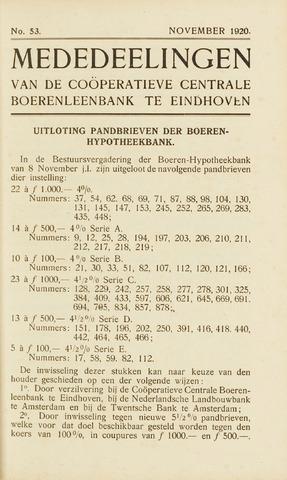 blad 'Maandelijkse Mededelingen' (CCB) 1920-11-01