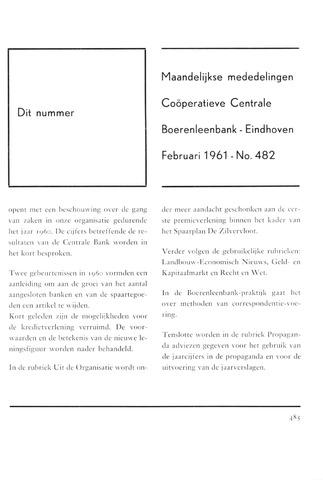 blad 'Maandelijkse Mededelingen' (CCB) 1961-02-01