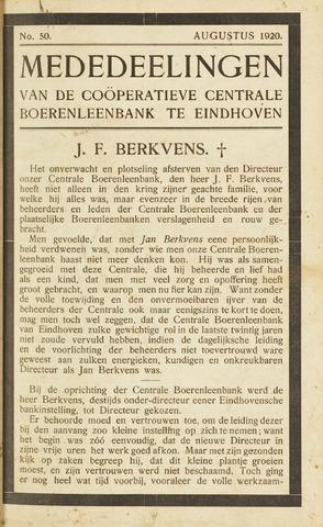 blad 'Maandelijkse Mededelingen' (CCB) 1920-08-01
