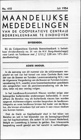 blad 'Maandelijkse Mededelingen' (CCB) 1954-07-01