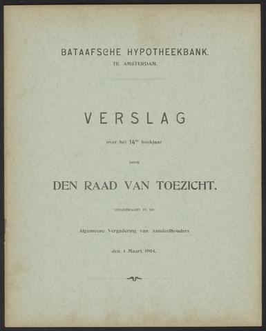 Jaarverslagen Bataafsche Hypotheekbank 1903