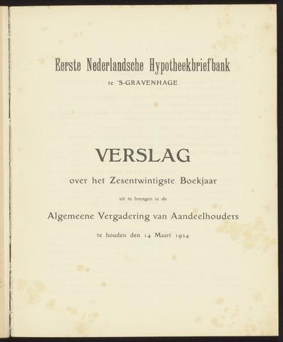 Jaarverslagen Eerste Nederlansche Hypotheekbriefbank 1923