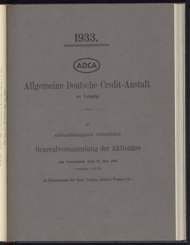 Geschäftsberichte Allgemeine Deutsche Credit-Anstalt / ADCA Bank 1933-01-01