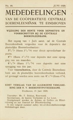 blad 'Maandelijkse Mededelingen' (CCB) 1920-06-01