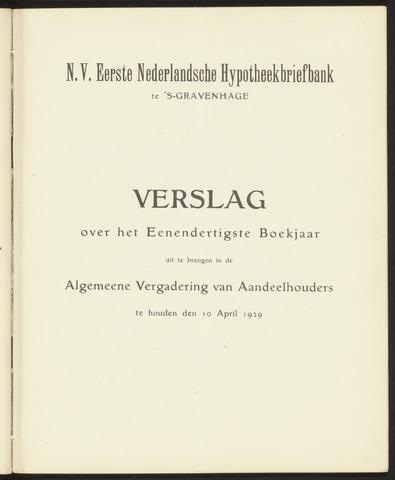 Jaarverslagen Eerste Nederlansche Hypotheekbriefbank 1928