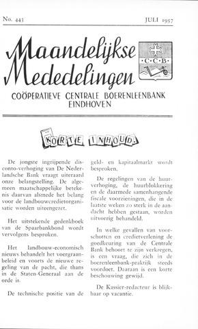 blad 'Maandelijkse Mededelingen' (CCB) 1957-07-01
