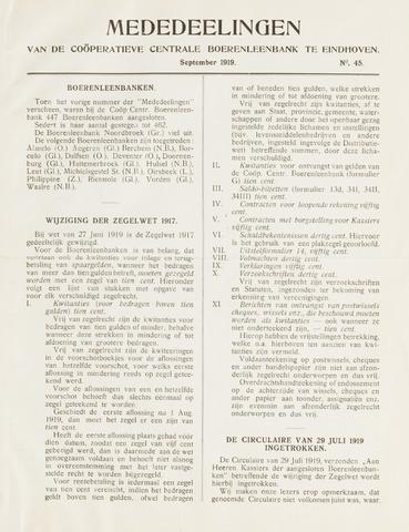 blad 'Mededeelingen' (CCB) 1919-09-01