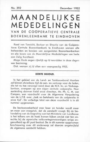 blad 'Maandelijkse Mededelingen' (CCB) 1952-12-01