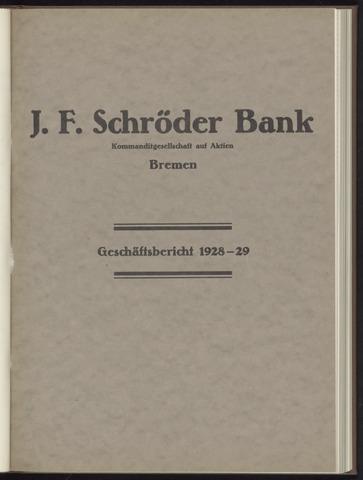Geschäftsberichte Bankhaus Schröder 1928
