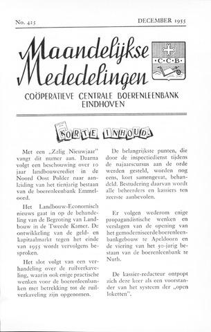 blad 'Maandelijkse Mededelingen' (CCB) 1955-12-01