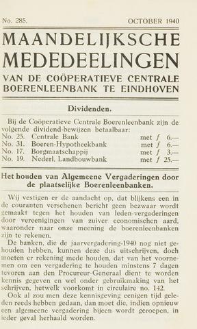 blad 'Maandelijkse Mededelingen' (CCB) 1940-10-01
