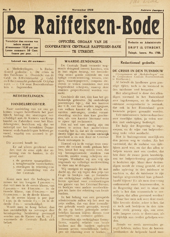 blad 'De Raiffeisen-bode' (CCRB) 1922-11-01