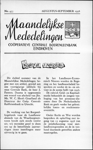 blad 'Maandelijkse Mededelingen' (CCB) 1956-08-01
