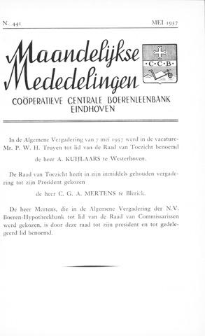 blad 'Maandelijkse Mededelingen' (CCB) 1957-05-01