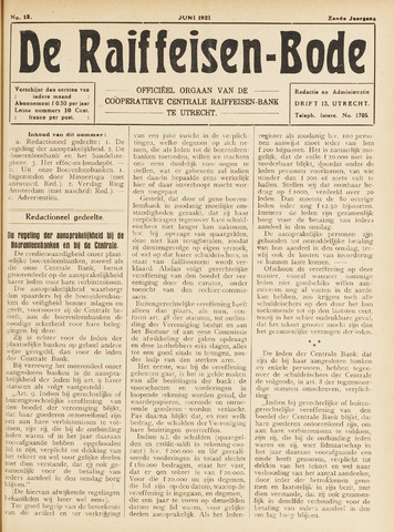 blad 'De Raiffeisen-bode' (CCRB) 1921-06-01