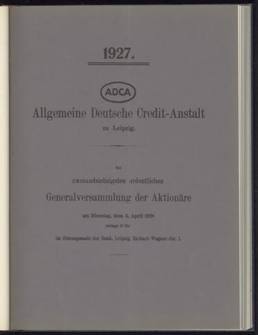 Geschäftsberichte Allgemeine Deutsche Credit-Anstalt / ADCA Bank 1927-01-01
