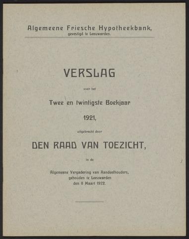 Jaarverslagen Algemeene Friesche Hypotheekbank 1921