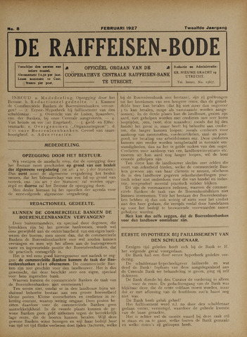 blad 'De Raiffeisen-bode' (CCRB) 1927-02-01