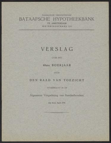 Jaarverslagen Bataafsche Hypotheekbank 1929