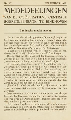 blad 'Maandelijkse Mededelingen' (CCB) 1923-09-01