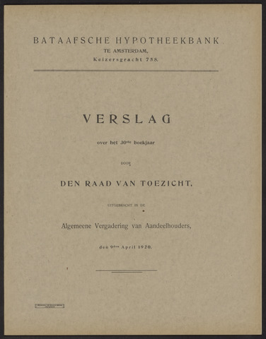 Jaarverslagen Bataafsche Hypotheekbank 1919