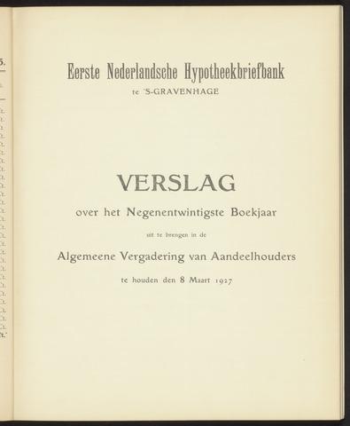 Jaarverslagen Eerste Nederlansche Hypotheekbriefbank 1926