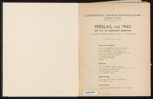 Jaarverslagen Coöperatieve Centrale Raiffeisen-Bank 1943
