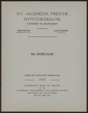 Jaarverslagen Algemeene Friesche Hypotheekbank 1939