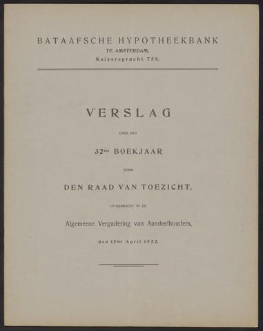 Jaarverslagen Bataafsche Hypotheekbank 1921