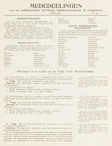 blad 'Mededeelingen' (CCB) 1917