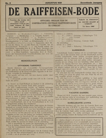 blad 'De Raiffeisen-bode' (CCRB) 1931-08-01