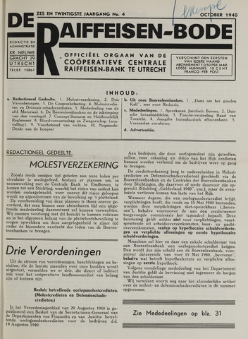 blad 'De Raiffeisen-bode' (CCRB) 1940-10-01
