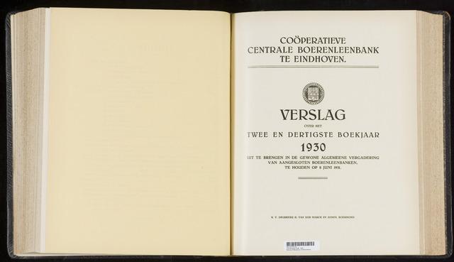 Jaarverslagen Coöperatieve Centrale Boerenleenbank 1930