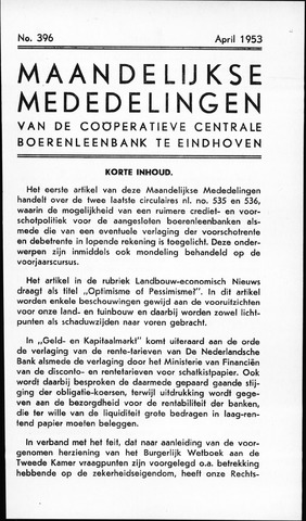 blad 'Maandelijkse Mededelingen' (CCB) 1953-04-01