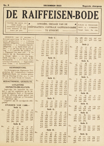 blad 'De Raiffeisen-bode' (CCRB) 1923-12-01