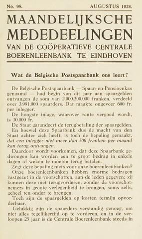 blad 'Maandelijkse Mededelingen' (CCB) 1924-08-01