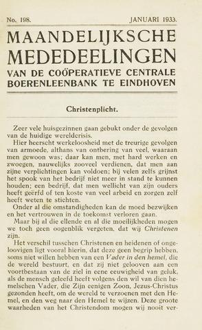 blad 'Maandelijkse Mededelingen' (CCB) 1933