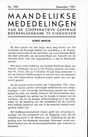 blad 'Maandelijkse Mededelingen' (CCB) 1951-09-01
