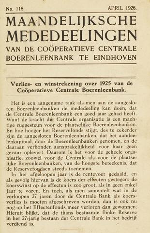 blad 'Maandelijkse Mededelingen' (CCB) 1926-04-01