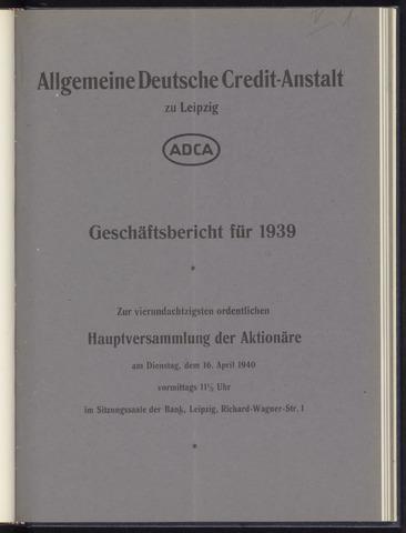 Geschäftsberichte Allgemeine Deutsche Credit-Anstalt / ADCA Bank 1939
