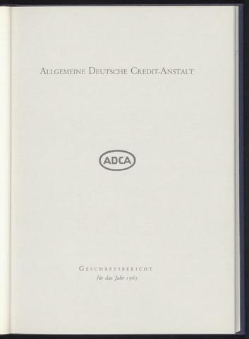 Geschäftsberichte Allgemeine Deutsche Credit-Anstalt / ADCA Bank 1965-01-01