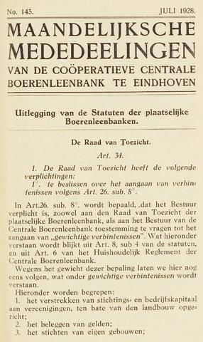 blad 'Maandelijkse Mededelingen' (CCB) 1928-07-01