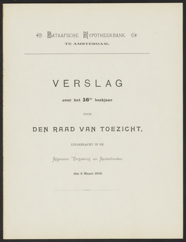 Jaarverslagen Bataafsche Hypotheekbank 1905